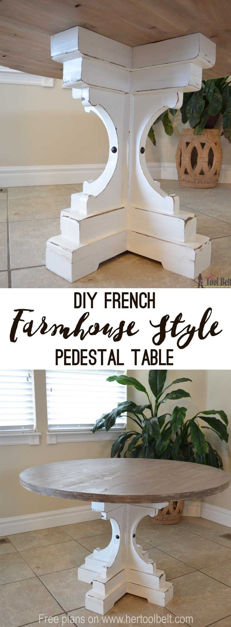 "Free woodworking plans to build a chunky french farmhouse style 48"" round pedestal table. This table is made from simple lumber (2x8, 2x6, 2x4) from Home Depot. Love the reclaimed wood finish!"