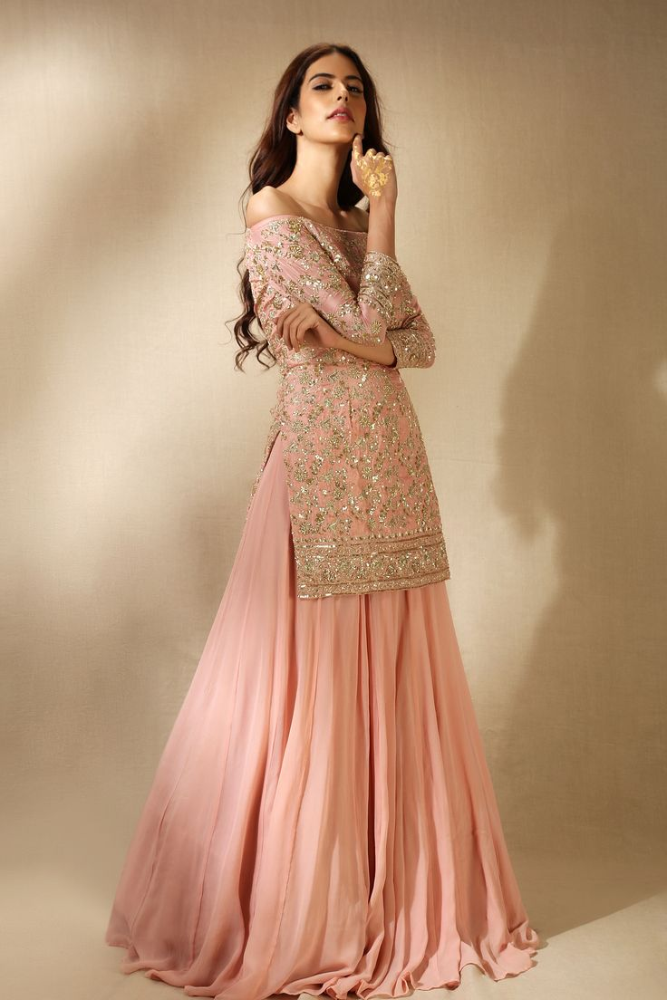 Baby Pink & Off-Gold Lehenga Choli | Modern Off-Shoulder Blouse | Designed by Astha Narang