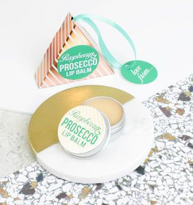 Prosecco And Raspberry Lip Balm In Rose Gold Gift Box - new in health & beauty