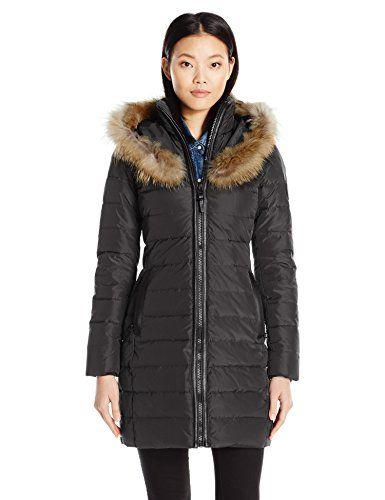 RUD by RUDSAK Women's Toreva Zip Front Down Coat with Fur Hood Trim