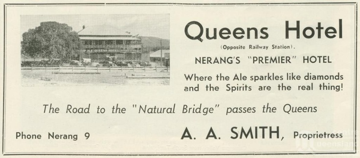 Queens Hotel, Nerang - Advertisement from 1937 advertising the Queens Hotel on the path to Natural Bridge at Springbrook