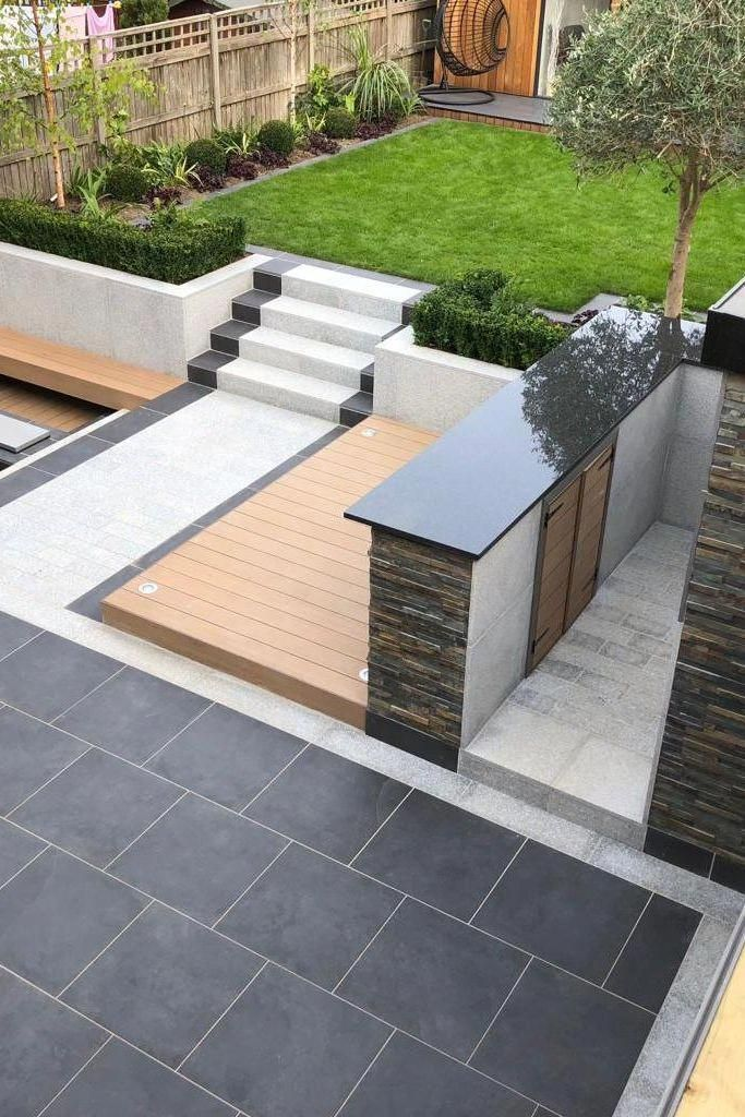 A Luxury But Low Maintenance Garden Featuring Marshalls Symphony Paving In Blue And Granite Eclipse In Light Installation By Limebok I 2020 Inngangsdor Hage Planker