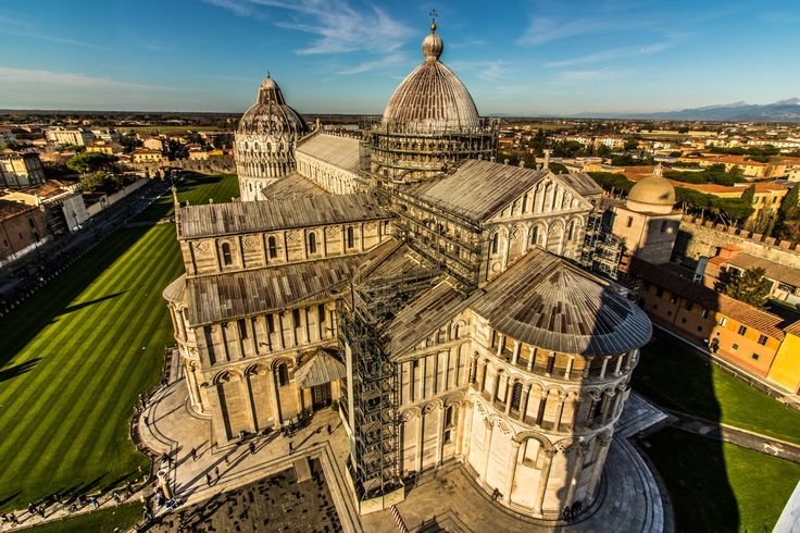 Piazza dei Miracoli - Pisa Cathedral is a medieval Roman Catholic cathedral dedicated to the Assumption of the Virgin Mary, in the Piazza dei Miracoli in Pisa, Italy. It is a notable example of Romanesque architecture, in particular the style known as Pisan Romanesque