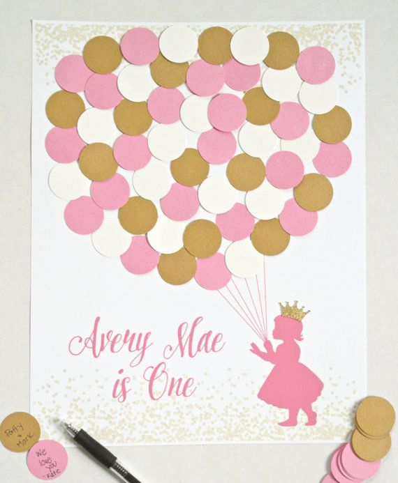 This Pink and Gold First Birthday Guest Sign In is the perfect addition to your pink and gold princess party decor for your little girl! Let guests