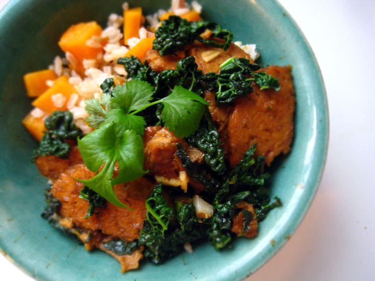 Orange Pan Glazed Tempeh with Kale and Sweet Potato Rice Boxing Day ...