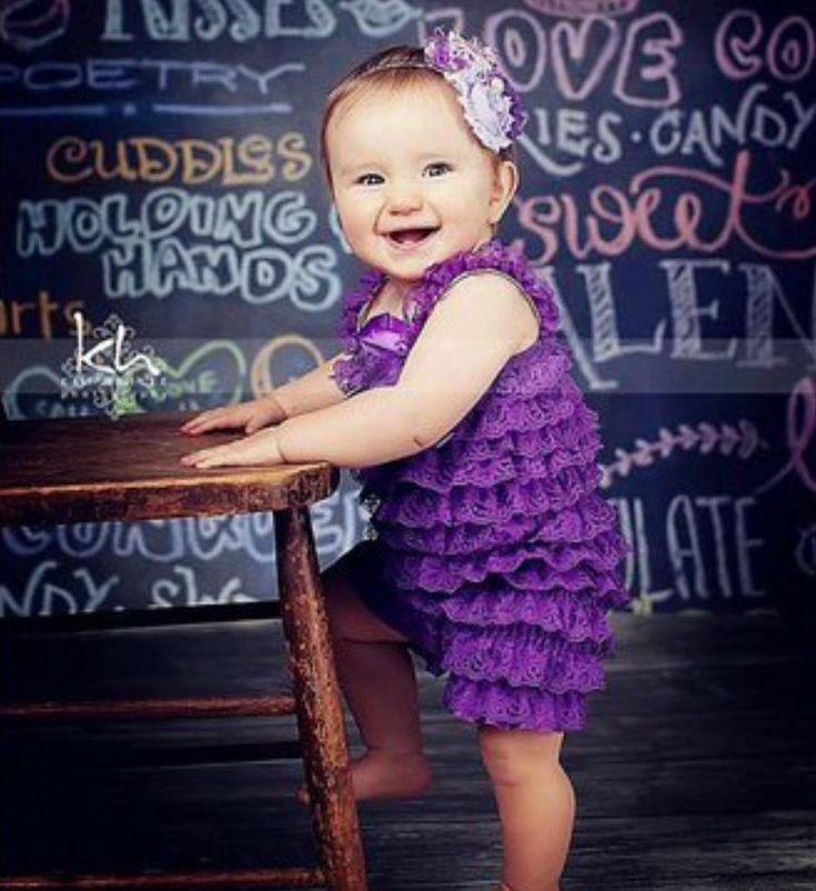 Dark Purple Shabby Chic Baby Girl Lace Romper - Dark Purple - White - Black Tier Ruffles Vintage Chic Lace Baby Girl Romper Perfect for weddings, easter, photo shoot and other special events Material: Lace, elastic, satin Available from 0 - 24 months *Headband is not included