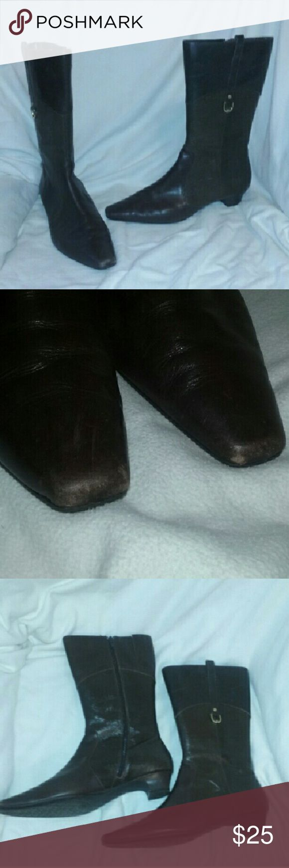 "Etienne Aigner Boots Brown Leather Mid Calf 8M Etienne Aigner Boots Brown Leather Mid Calf Womens 8M  Style name E-DAVIN. Overall good condition. Light scratching (from normal wear) on genuine leather uppers and wear at toes. Approx 1 1/2"" heel. Great find. Etienne Aigner Shoes"