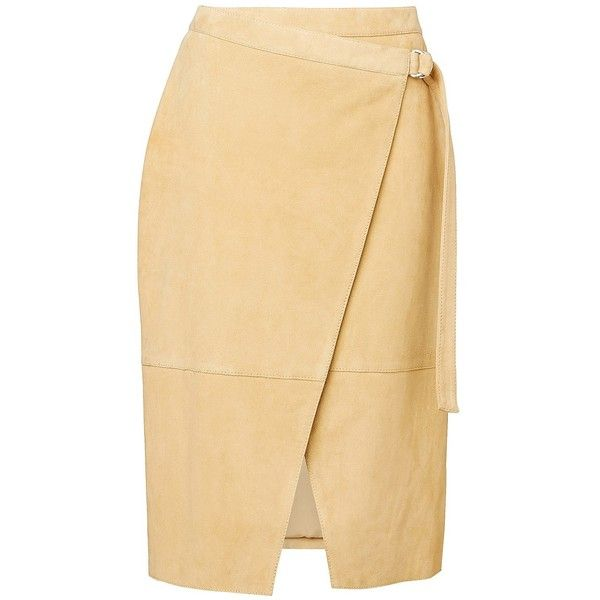 Witchery Suede Wrap Skirt (350 AUD) via Polyvore featuring skirts, suede skirt, beige skirt, wrap skirt and suede leather skirt