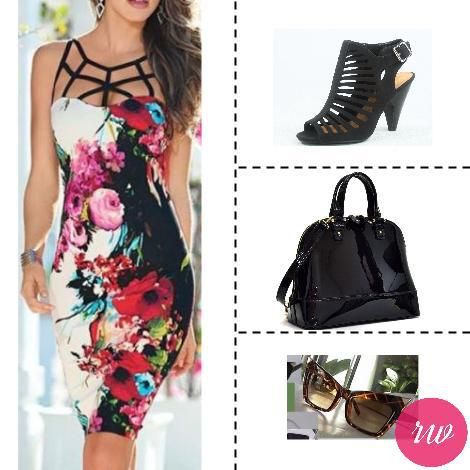 Cute Weekend Outfits - Floral Dress with Black Accessories. www.rosyweekend.com