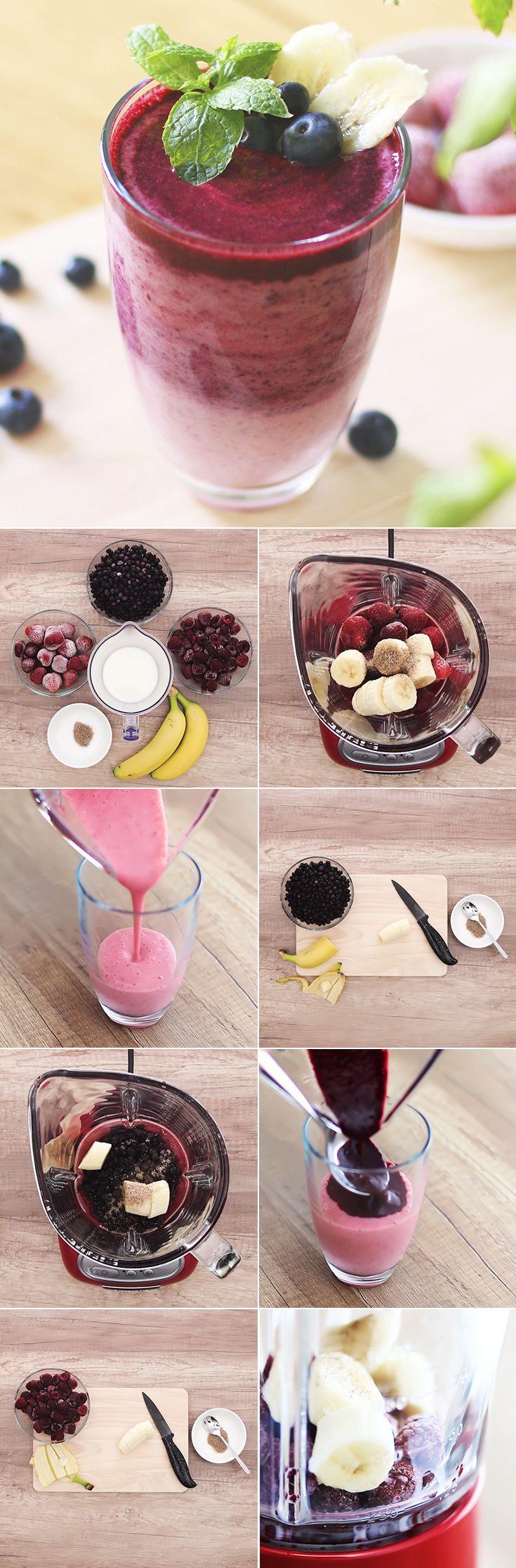 Smoothies sind nicht nur lecker, sondern auch gesunde Vitamin-Bomben. Mit diesen drei Rezepten für fruchtige Erdbeer-, Blaubeer- und Himbeer Smoothies mixt ihr euch eure persönlichen Energiebooster mit einer Extraportion Sommer-Feeling für den Herbst. Gleich ausprobieren! Zu den Rezepten