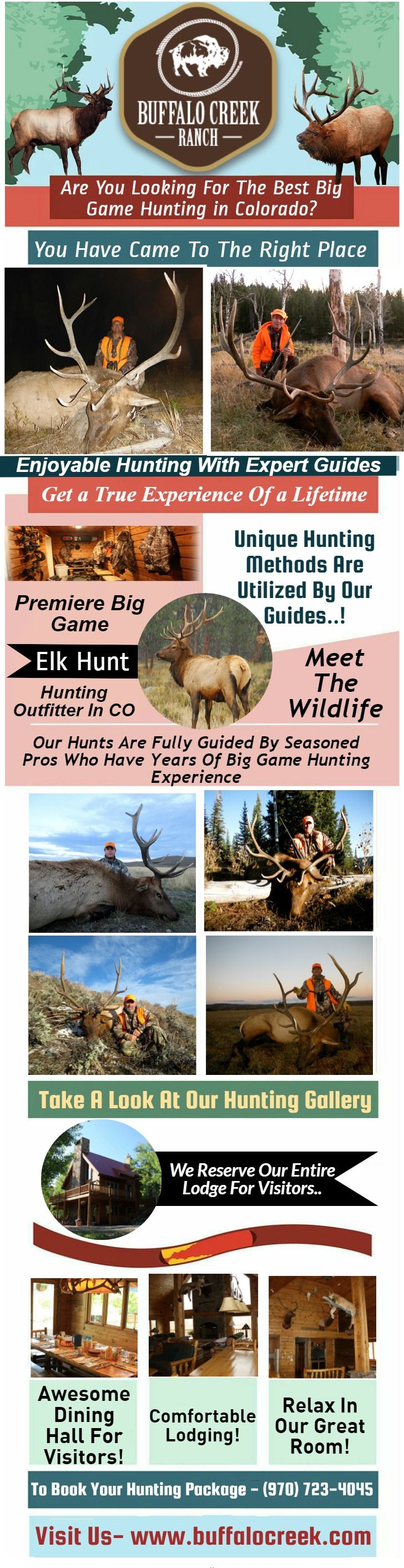 Buffalo Creek Ranch provides private access to over 18,000 acres of land. Hunter's can find great elk hunting with some of the most spectacular scenery in Colorado. To book your next hunting trip call our office at - (970) 723-4045.