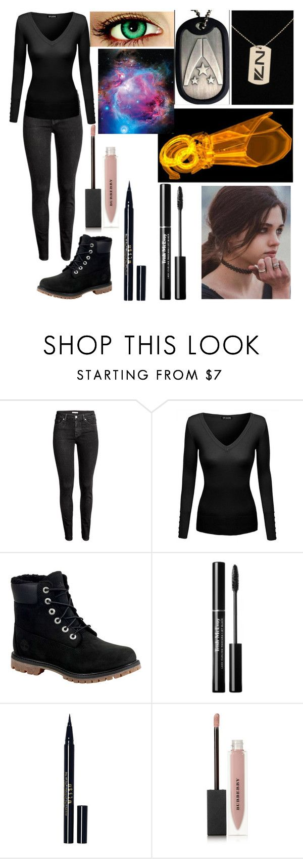 """""""Tiala Rosunae"""" by s-cleer ❤ liked on Polyvore featuring H&M, Timberland, Stila and Burberry"""