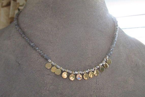 Collier de pierre gemme labradorite gitane fine par slashKnots
