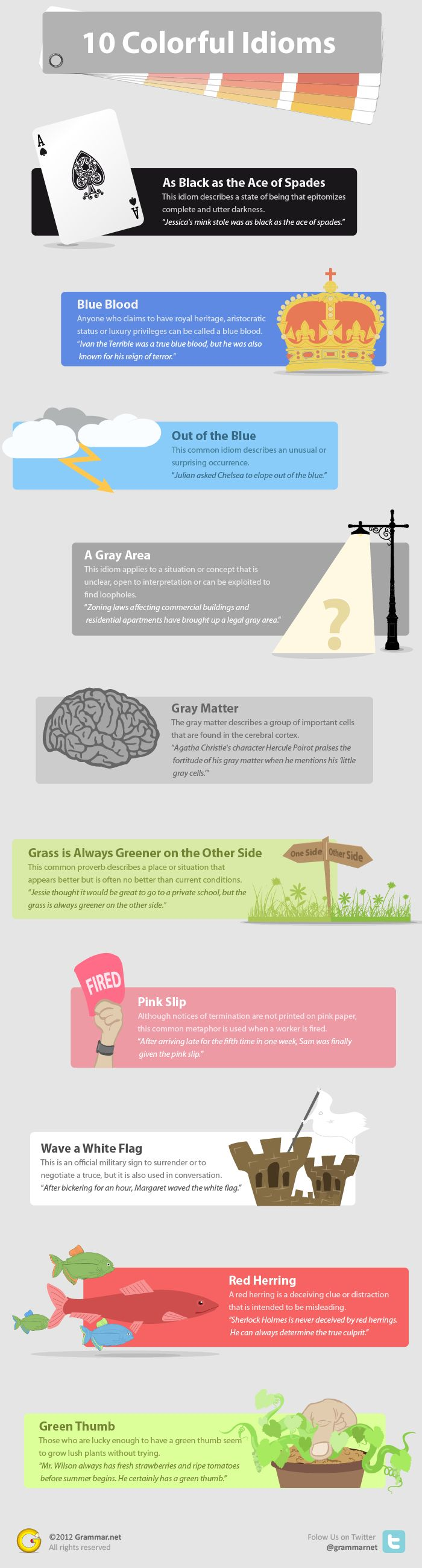 """10 Colorful Idioms: out of blue for your gray matter [infographic]"""