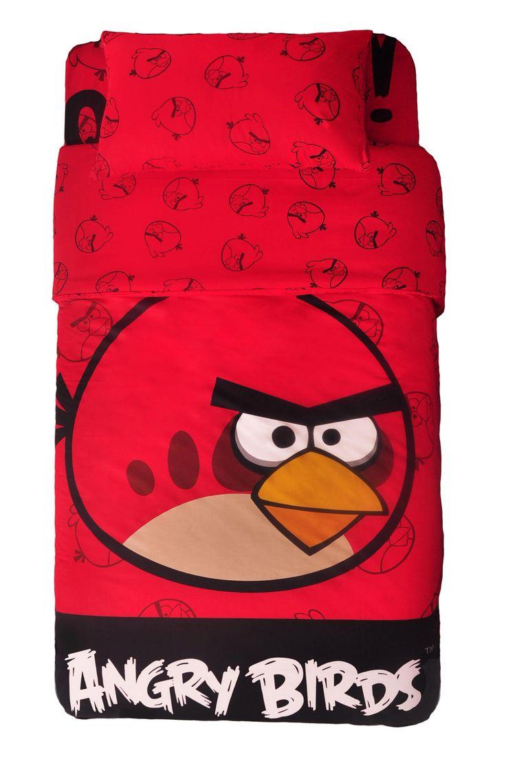 Angry Bird Bed Cover by . Made from 100 % sateen cotton , bright  red bed cover with Red Angry Bird graphic print, perfect bed cover for children, this bird sure is famous. Keep warm and comfortable with this super cute bed cover. http://www.zocko.com/z/JIYVG