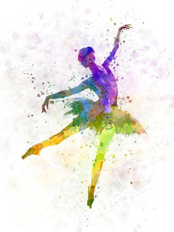 Watercolor woman ballerina ballet dancer dancing 04 by Paulrommer on Etsy