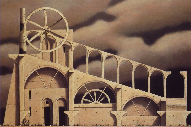 Paintings by Minoru Nomata.  Reminiscent of both de Chirico and Escher.