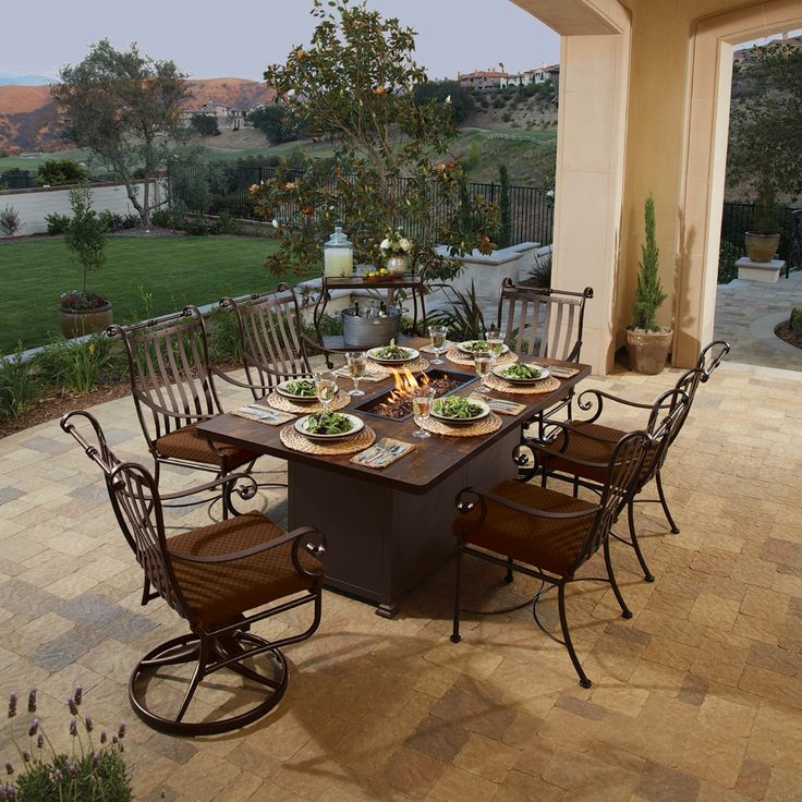 Charles 7 Piece Fire Pit Dining Set By OW Lee Captures The Beauty Of  Wrought Iron While Showcasing Old Southern Charm Sure To Catch The Eye.