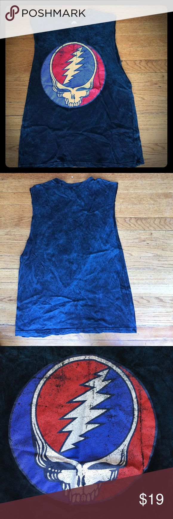 GRATEFUL DEAD Sleeveless blue TSHIRT M GRATEFUL DEAD PRODUCTIONS Cotton 2016 excellent condition Grateful dead productione Shirts Tank Tops