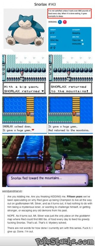 An interesting theory about Red and his Snorlax