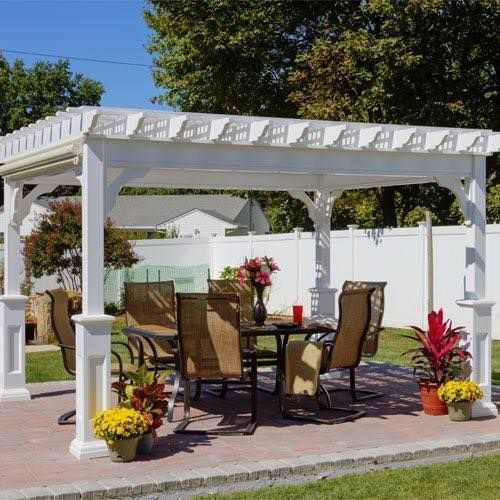 Amish Traditional Vinyl Pergola Kit This Beautiful Design Brings A Custom Made Family Room To Your Outdoor Space