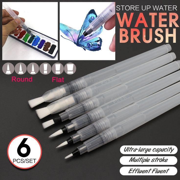 Bianyo 6 pcs bentuk yang berbeda kapasitas besar barel pena kaligrafi kuas cat set untuk diri membasahi air menggambar perlengkapan seni