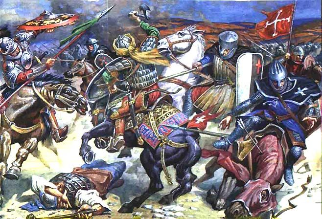 The Battle of Hattin, 1187. This battle took place on Saturday, July 4, 1187 and is very important, because after it, the Crusaders lost most of their area in the Holy Land. The leader of Muslims was Salah ad-Din and in charge of the christian army was Guy de Lusignan.