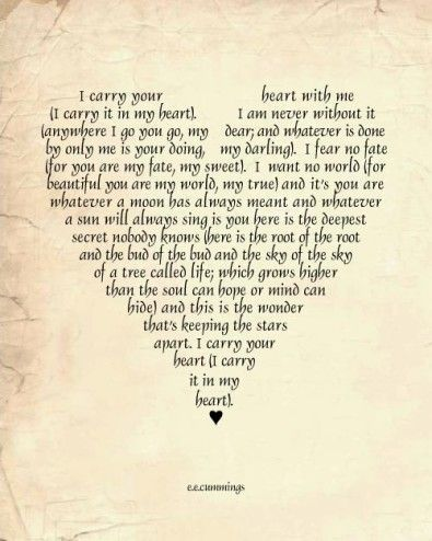 Love Poem Art Print EE Cummings I carry you in my heart always heart typography 11 x 14 print by:-SNewberryDesigns
