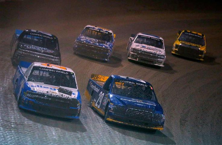 At-track photos: Eldora Speedway Wednesday, July 19, 2017 No. 21 Johnny Sauter battles No. 29 Chase Briscoe, as they lead a pack of trucks during the NASCAR Camping World Truck Series 5th Annual Dirt Derby 150 at Eldora Speedway. Photo Credit: Photo by Sean Gardner/Getty Images Photo: 19 / 43