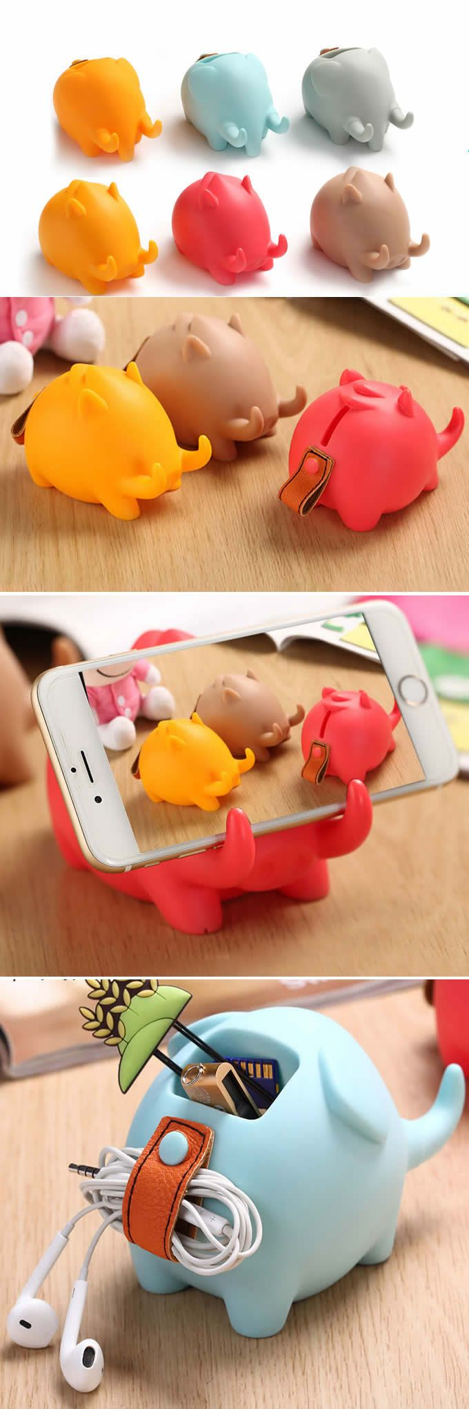 Cute Elephant Multi-functional Mobile Phone Holder Stand Cute Pig…