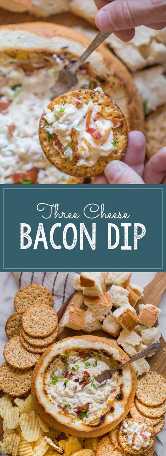 3 Cheese Bacon Cheese Dip Recipe