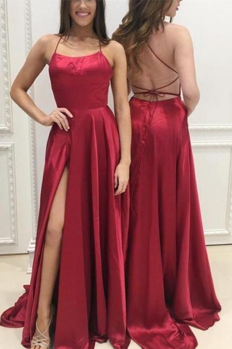 P95 Long Satin Open Back Prom Dresses 2018 Leg Slit Evening Gowns