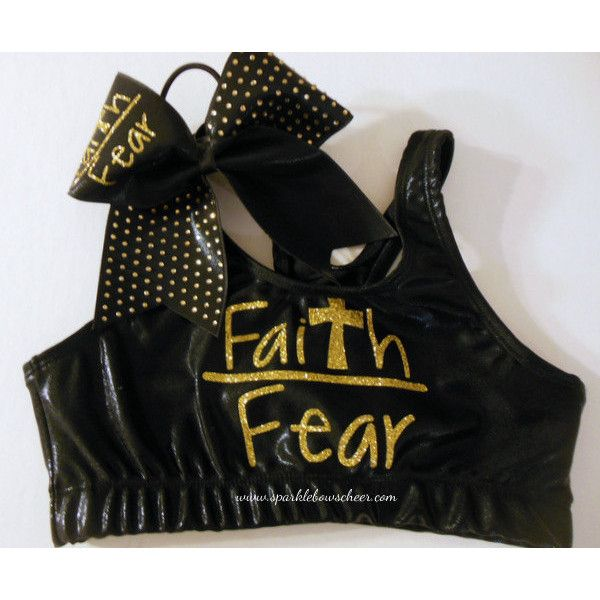 SparkleBowsCheer Faith Over Fear Metallic Sports Bra and Bow Set... ($36) ❤ liked on Polyvore featuring activewear, sports bras, cheer, red and women's clothing