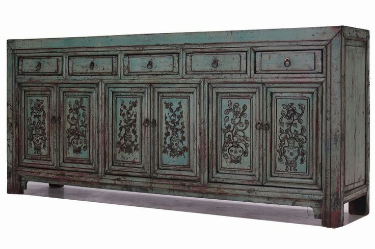 beautiful carved and painted antique chinese sideboard CU562 | 1,920€ | 103 alto x 230 ancho x 45 cm fondo