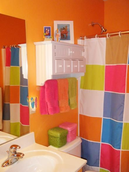 CUTE idea for lots of kids who are too young for a grown-up looking bathroom. This has totally changed my vision for a kids bathroom
