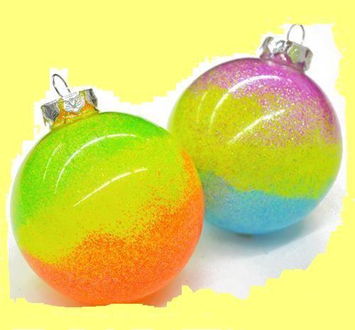 Как сделать новогодние неоновые шарики на елку   Эфария