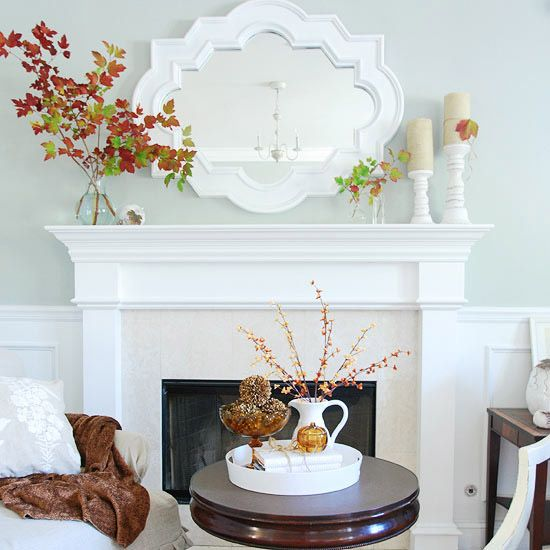 Fall Mantel with Natural Elements