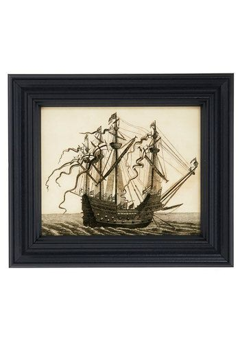 24.99 The image of this English watercraft is printed on a light wooden canvas behind glass, bordered by a beveled black frame. Intricate sketch-like lines of the rippling ocean and waving flags bring the salty sea air to your home. Hang this maritime-themed picture by its back hook upon an aqua-painted wall where it will appear right at home.