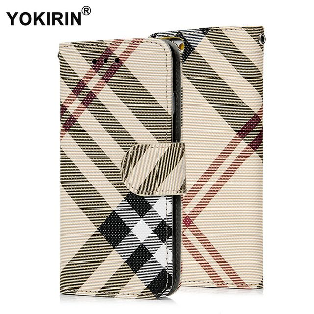 Luxury Plaid Pattern PU Leather Wallet Case Cover for iphone 6 6S Plus Protective Phone Pouch Bag With ID Card Stand Holder