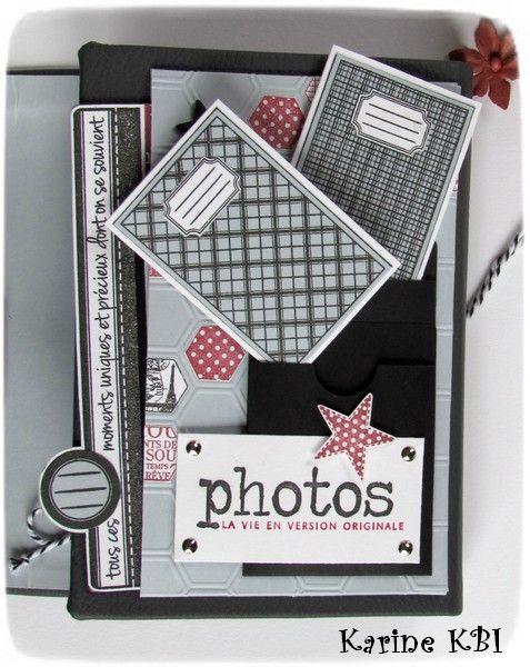 """Voici le mini album """"spécial tampons"""" (37 !) que j'ai eu le plaisir de proposer en ateliers à la demi-journée à mon domicile et à la boutique l'arrêt création : en détails : de dos : l'intérieur : L'intérieur en détails : déplié : les tags cachés : J'en..."""