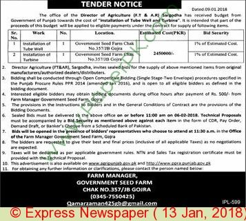 Government Seed Farm Gojra Tender Notice
