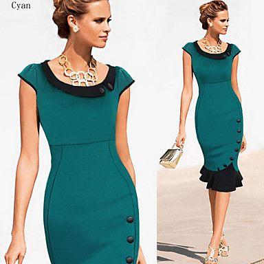 XinYuanGe® Women's Turn Down Collar Rivet Ruffle Dress – USD $ 25.19                     #LightInTheBoxFavorties