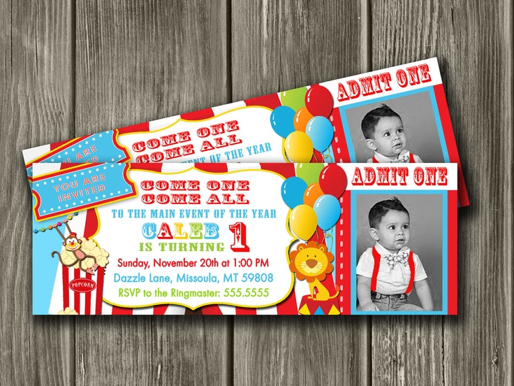 Circus Ticket Invitation for Daily 5: Birthday Parties, Circus Birthday Invitations, Circus Invitations, Ticket Invitations, 1St Birthday, Card, Circus Carnival, Parties Ideas, Circus Parties
