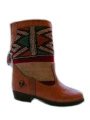 Sahara red and white - handmade leather and kilim