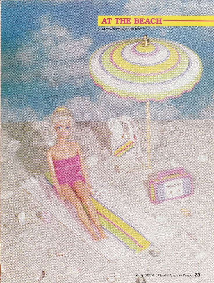 Barbie Beach Supplies in Plastic Canvas by TamarasTraditions on Etsy