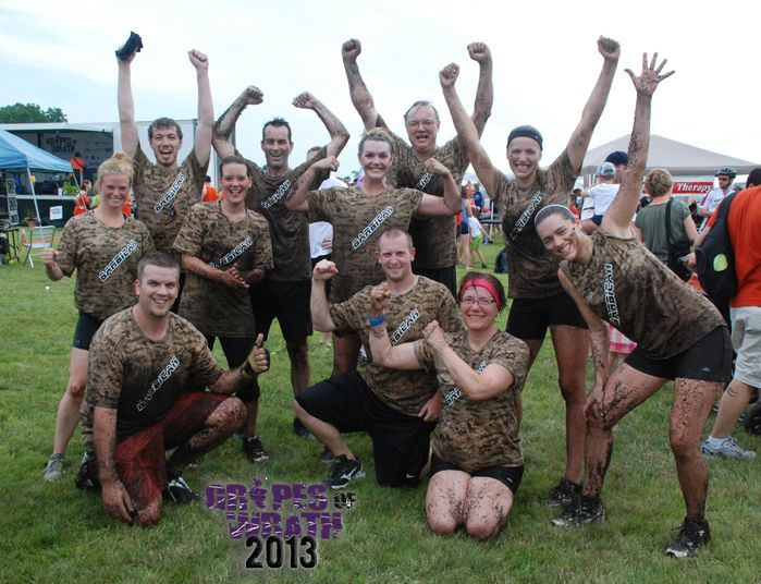 """Team Barbican in 2013 after finishing the """"Grapes of Wrath"""", an obstacle course race which raises money for the Canadian Cancer Society."""