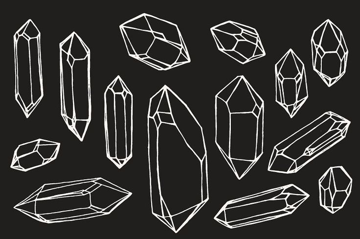 Crystal / Mineral / Gem Drawings by Feanne on @creativemarket
