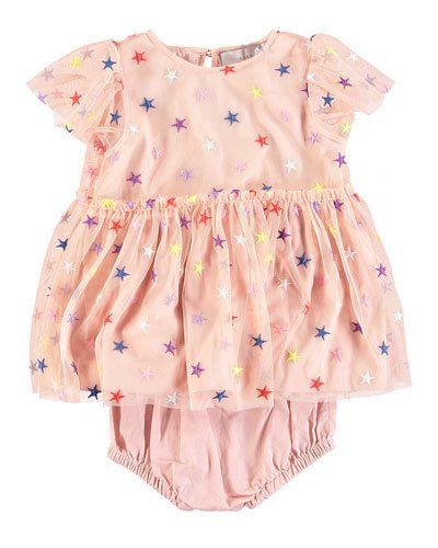 b7f644a2f K0VNY Stella McCartney Kids Multicolored Embroidered Star Tulle Dress w/  Bloomers Size 6-36