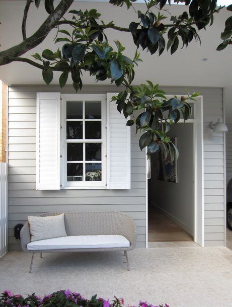 light grey weatherboard with white trim