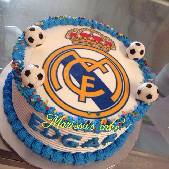 Real Madrid birthday cake. Visit us Facebook.com/marissa'scake or www.marissa'scake.com